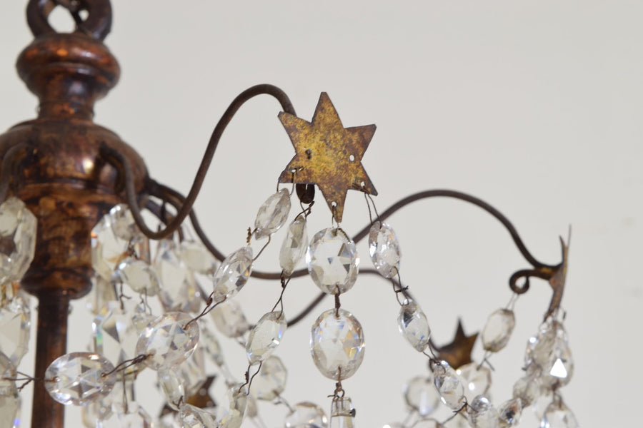 Giltwood, Iron, and Glass 8-Light Chandelier