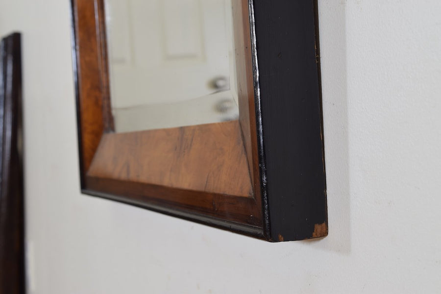 Walnut and Ebonized Wall Mirror