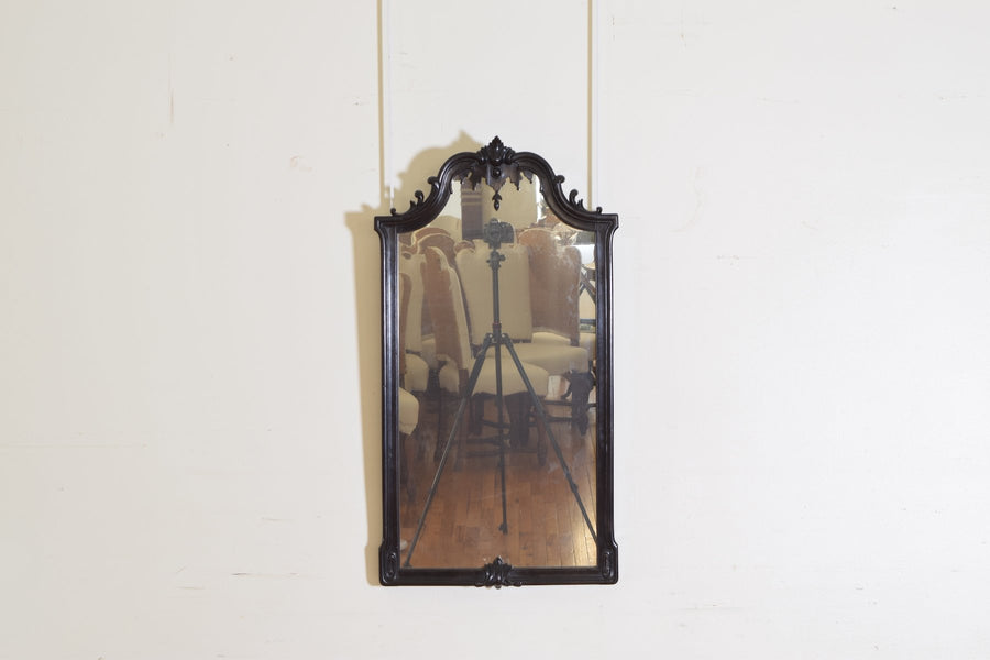 Carved and Ebonized Wood Mirror