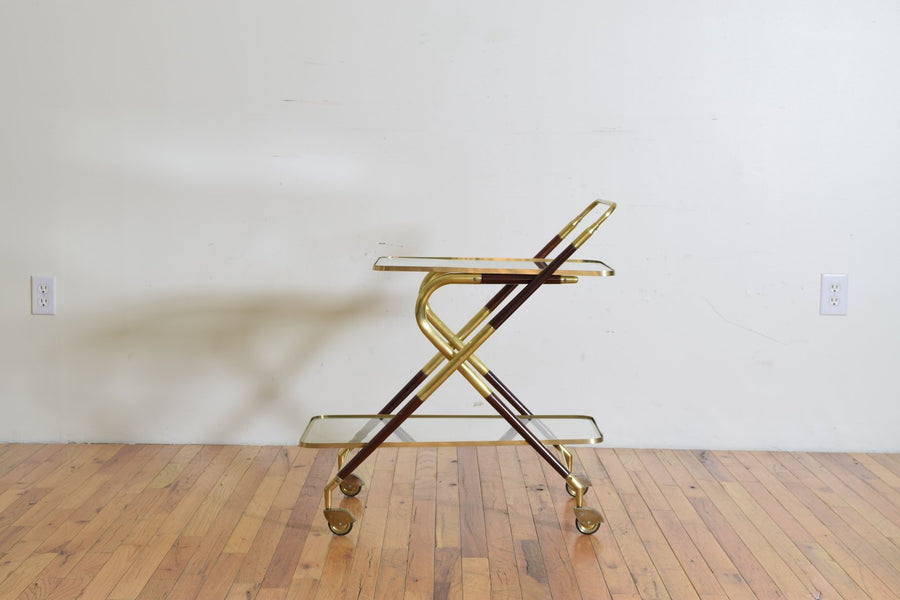 Brass, Rosewood, and Glass Bar Cart on Casters