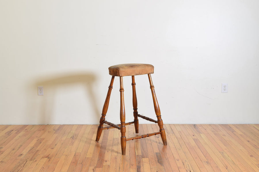 Poplar and Leather Upholstered Tall Stool