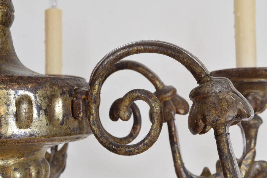 Carved Giltwood and Mecca 6-Light Chandelier