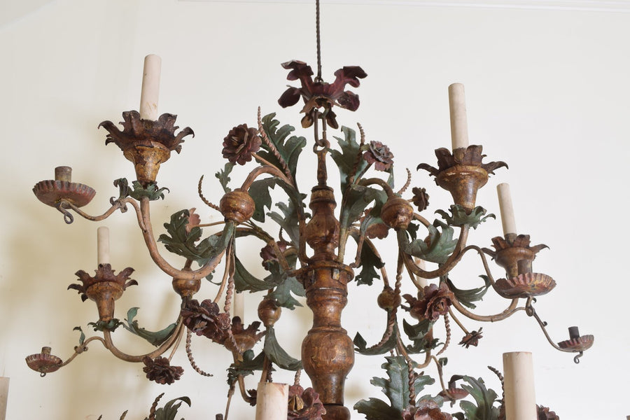 Giltwood and Polychrome Painted Iron 18-Arm Chandelier