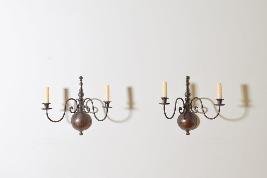 Pair of Patinated Brass 2-Arm Sconces