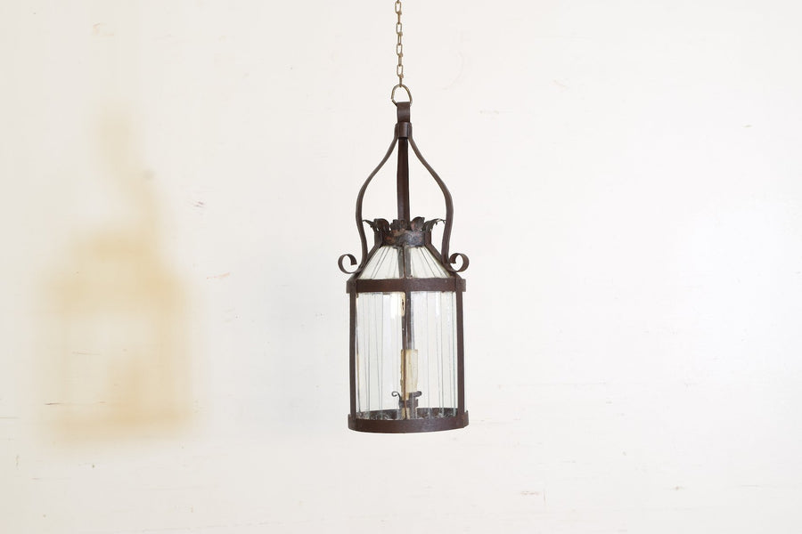 Wrought Iron and Shaped Metal 1-Light Lantern
