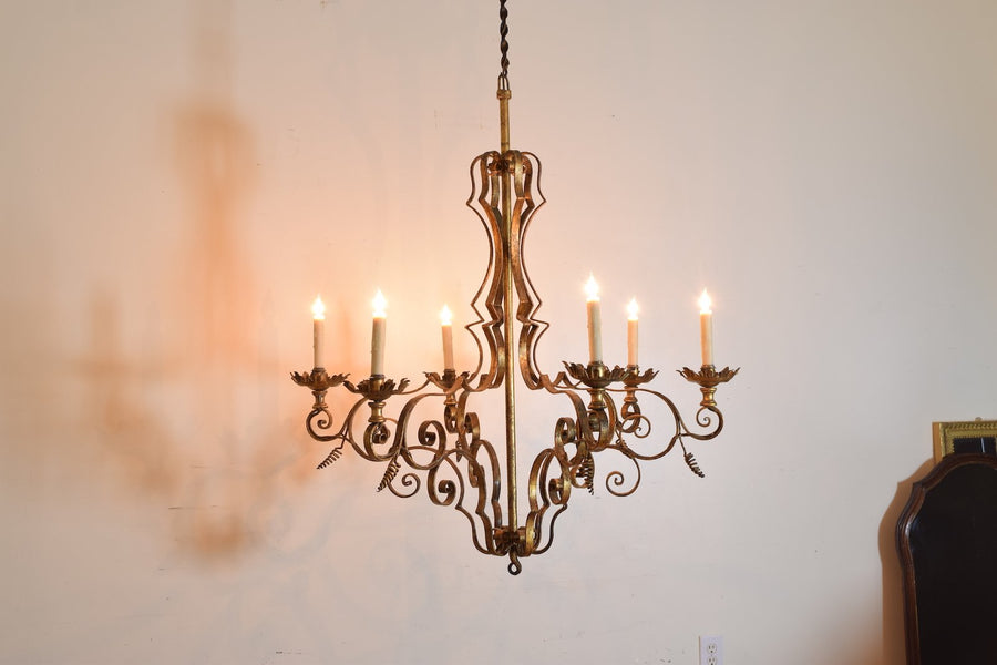 Wrought and Gilt Iron 6-light Chandelier
