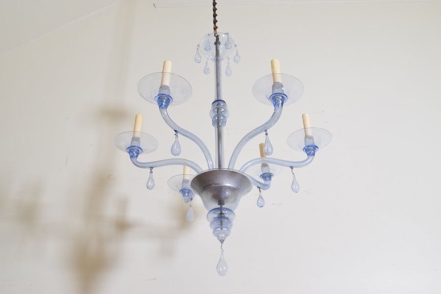 Murano Blown Blue Glass 6-Arm Chandelier