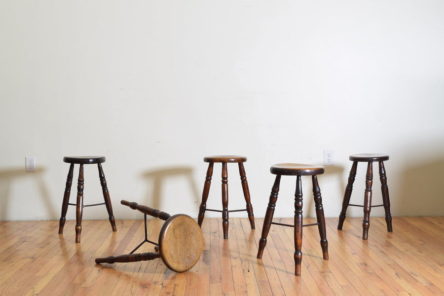 Oak and Iron Joint Pub Stool (4 available)
