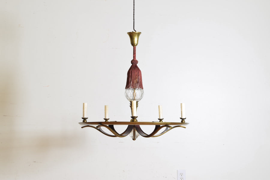 Brass and Cut Glass 5-Light Chandelier