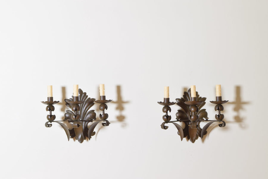 Pair of Painted and Patinated Metal 3-Light Sconces
