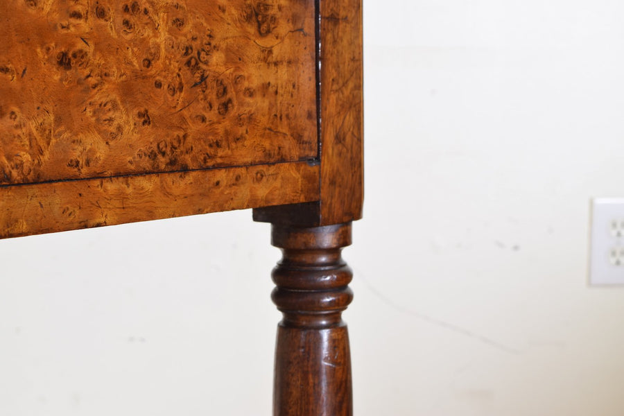 Burl Walnut and Marble-Top 2-Drawer Tall Commode