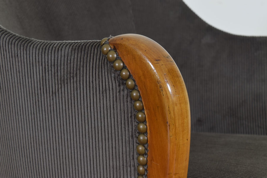 Fruitwood Bergere Upholstered in Corduroy