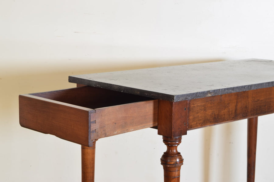 Cherrywood and Marble 1-Drawer Table