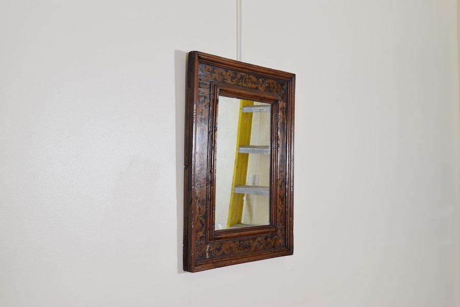Walnut and Stenciled Mirror