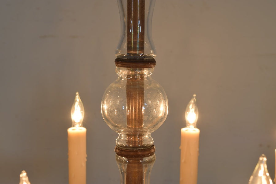 Cast Bronze and Blown Glass 8-Light Chandelier