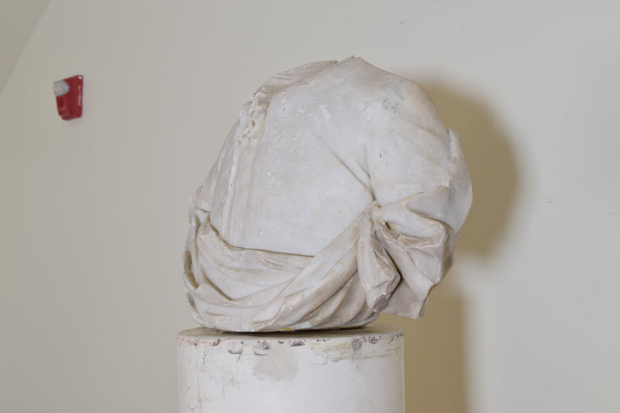 Bust in Statuary Marble on Later Plaster Pedestal