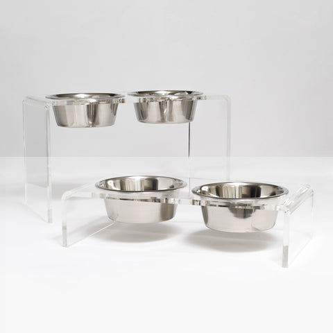 Tall and Low Large Silver Bowl Clear Acrylic Waterfall Double Bowl Feeders