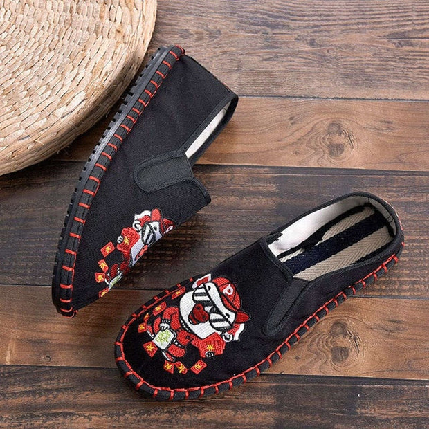 Basic Chinese Style Slip On Summer Flax Flat Women Casual Sneakers - NBS