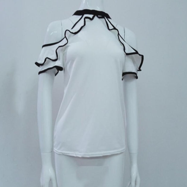 Elegant Leisure Casual Ruffles Trim Blouse - NBS