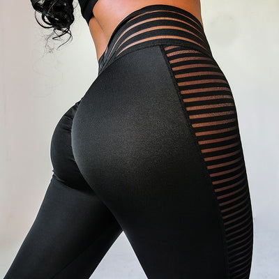 Women Leggings Sexy Mesh Patchwork High Waist Jeggings Solid Spandex Workout Femme - NBS