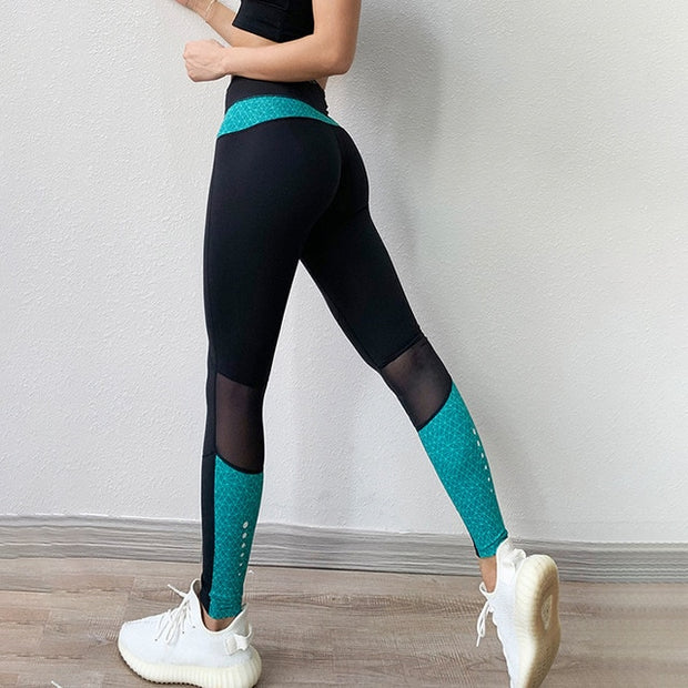Leggings Mesh Patchwork High Wasit Push Up Polyester - NBS