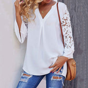 Women White Blouse V neck Lace Shirts 3/4 Sleeve - NBS