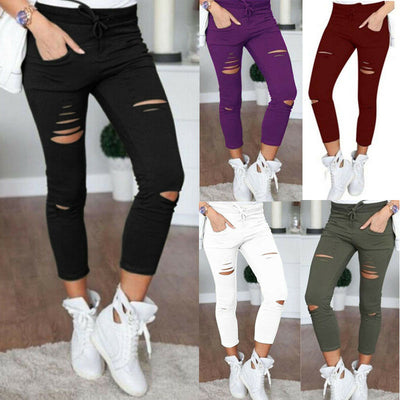 Women Skinny Ripped Holes Leggings - NBS