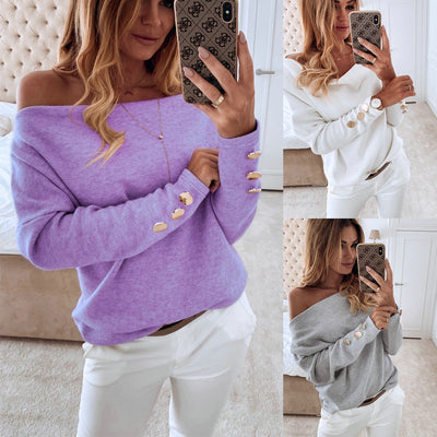 Off-Shoulder Button Long Sleeve Loose Tops - NBS