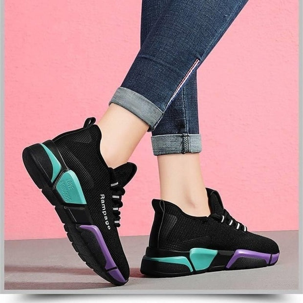 Women Sport Shoes Outdoor Lace-up Platform Sneakers Air Mesh Breathable Walking Running Gym Trainers - NBS