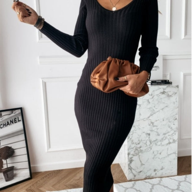 Autumn Winter V-neck Solid Long Sleeve Knitting Dress - NBS