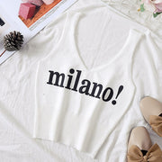 Women Sexy Crop Tops Deep V-Neck Lettering milano - NBS
