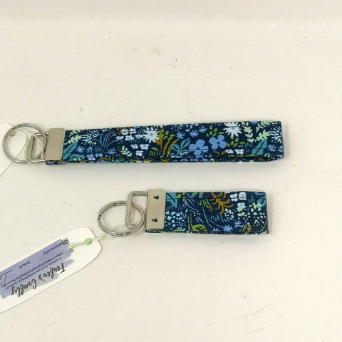 Navy Floral Greenery Key Fob
