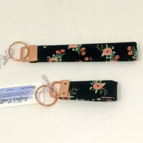 Black and Pink Floral Key Fob