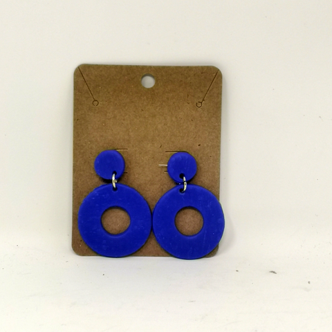 Blue Circular Dangle Earrings