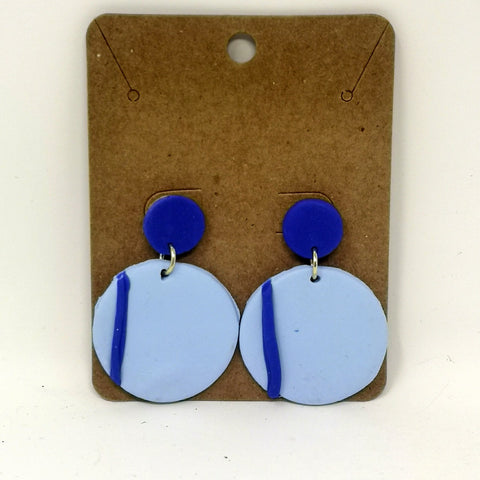Blue Stripe Dangle Earrings