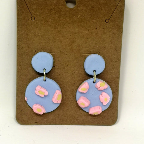 Blue & Pink 3D Flower Earrings