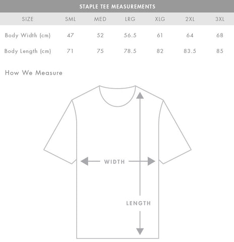 Staple Tee Sizing Guide