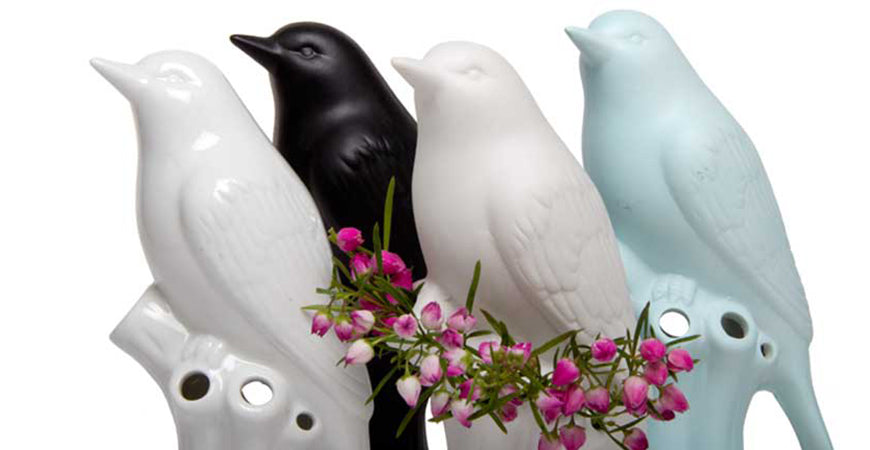 Porcelain Bird Close Up Group