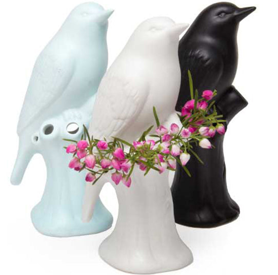 porcelain Bird trio - white, black, baby blue