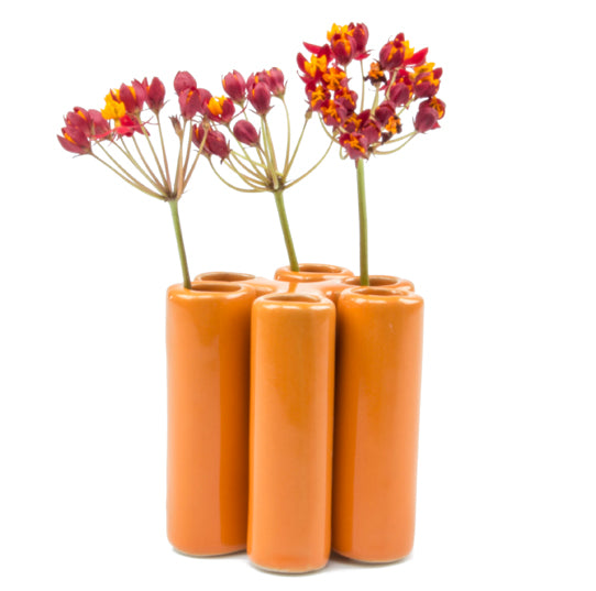 Puzzle Pooley Bud Vase - Orange