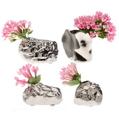 Chive Alu - Large Rock, Volcano Cup, Medium, Small Rock Ceramic Silver Organic Modern Flower Vase