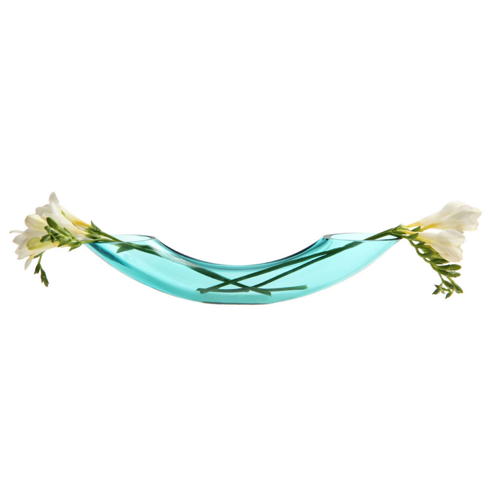 Chive Arch - Aqua Curved Glass Low Laying Flower Vase
