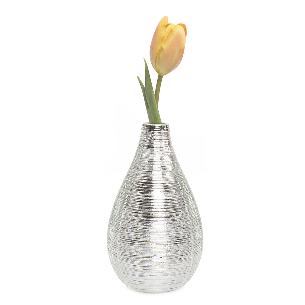 Chive Atrion - Egg Silver, single stem ceramic decorative flower vase