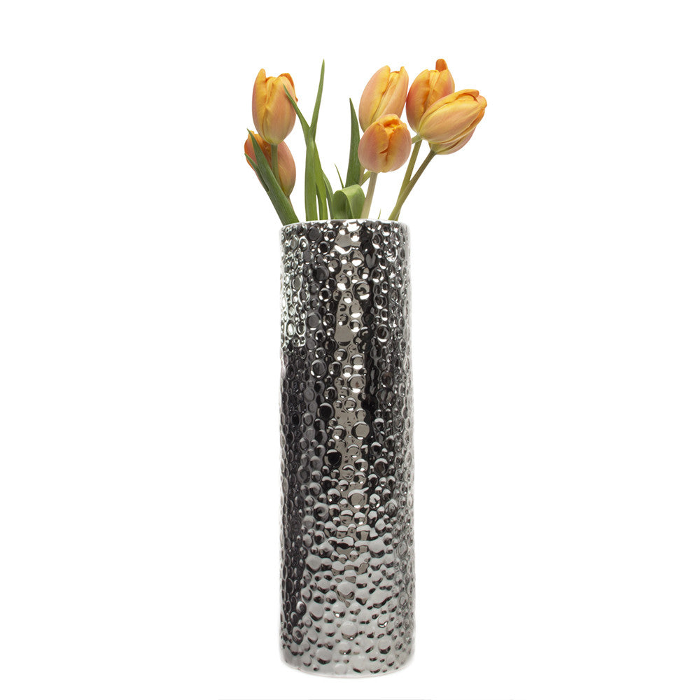 Chive Atrion - Large Cylinder Pewter Tall Ceramic Flower Vase