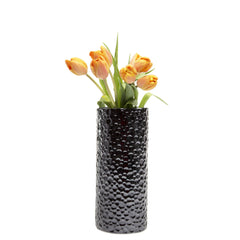 Chive Atrion - Md Cylinder Black, Tall Ceramic Decorative Flower Vase