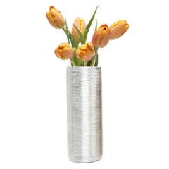 Chive Atrion - Tube Silver, ceramic decorative flower vase