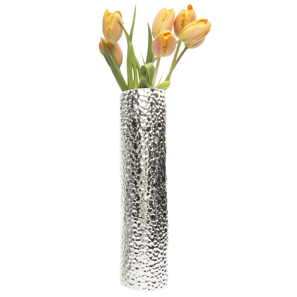 Atrion - XL Cylinder Silver, Tall Ceramic Decorative Flower Vase