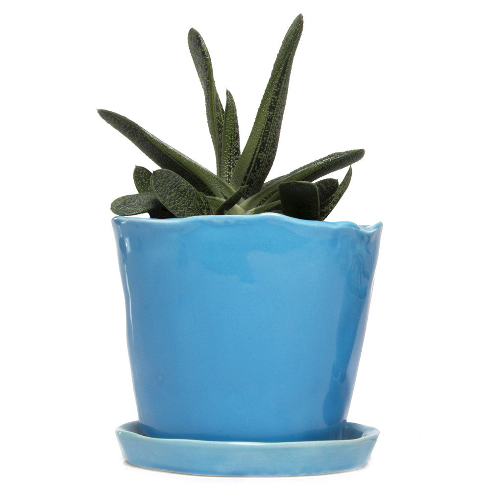 Big Tika Planter - Azure, ceramic potted planter
