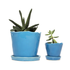 Big Tika Planter  and Little Tika - Azure, ceramic potted planter