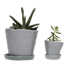 Big Tika Planter and Little Tika Palnter - Light Grey, ceramic potted planter